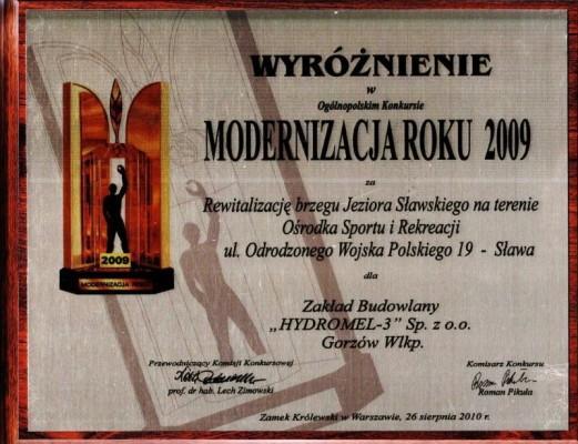 Wyróżnienie wOgólnopolskim Konkursie Modernizacja Roku 2009