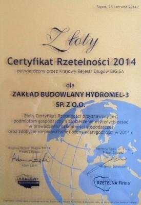Złoty Certyfikat Rzetelności otrzymany 26.06.2014